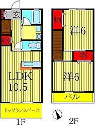 [テラスハウス] 千葉県松戸市六実2丁目 の賃貸【/】の間取り