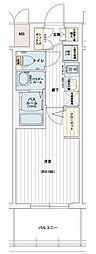エステムコート名古屋黒川シャルマン 9階1Kの間取り