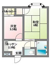 大阪府門真市岸和田2丁目の賃貸マンションの間取り