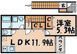 広島県広島市安芸区中野4丁目の賃貸アパートの間取り