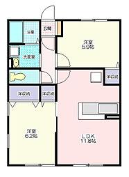 コンフォートHinano[1階]の間取り
