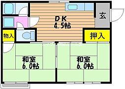 コーポサンセット[2階]の間取り
