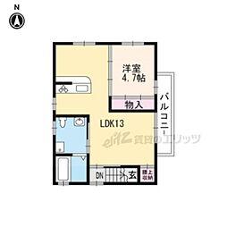 京都地下鉄東西線 太秦天神川駅 徒歩3分の賃貸一戸建て 2階1LDKの間取り