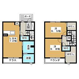 [テラスハウス] 愛知県一宮市平和3丁目 の賃貸【/】の間取り