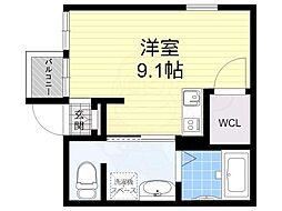 レジデンスコート池田 3階ワンルームの間取り
