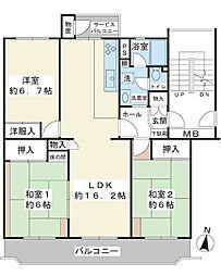 間取り(南向き3LDK.5階建の最上階住戸です。)