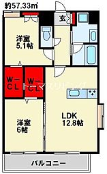 ラ・フェリス城野 8階2LDKの間取り