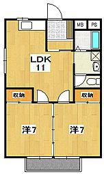 テクノハイム本宿 桜[202号室]の間取り