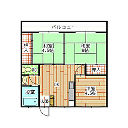 福岡県北九州市小倉北区片野新町2丁目の賃貸マンションの間取り