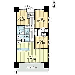 ライオンズ浦添城間グランテラス 15階3LDKの間取り