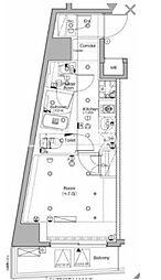 東京メトロ南北線 白金高輪駅 徒歩4分の賃貸マンション 9階1Kの間取り