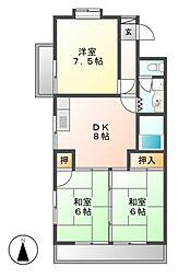 ラフォーレ二城[3階]の間取り