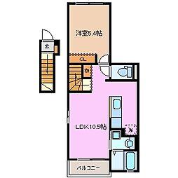 チェリーコート104 A棟[2階]の間取り