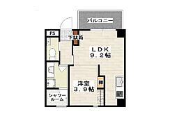 沖縄都市モノレール 小禄駅 徒歩10分の賃貸マンション 3階1LDKの間取り