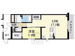Osaka Metro今里筋線 新森古市駅 徒歩3分の賃貸マンション 3階1LDKの間取り