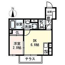 名古屋市営名城線 名城公園駅 徒歩8分の賃貸アパート 1階1DKの間取り