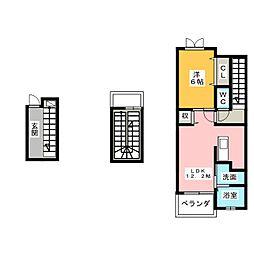 静岡県静岡市葵区瀬名川2丁目の賃貸アパートの間取り