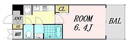 JR大阪環状線 京橋駅 徒歩5分の賃貸マンション 12階1Kの間取り