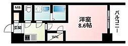ワールドアイ江坂アルバ 7階1Kの間取り