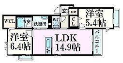 シャーメゾンヒュッゲ武庫川 2階2LDKの間取り