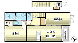 網干区興浜アパート[202号室]の間取り