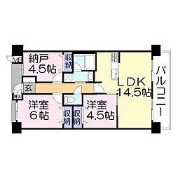 兵庫県加古川市加古川町篠原町の賃貸マンションの間取り