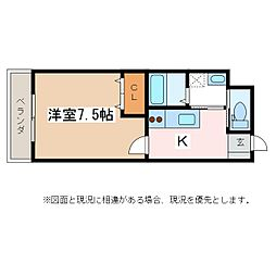 JR大糸線 北松本駅 徒歩13分の賃貸マンション 3階1Kの間取り