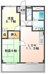 兵庫県姫路市網干区和久の賃貸マンションの間取り
