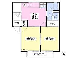 群馬県高崎市矢島町の賃貸アパートの間取り