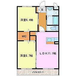 甘木鉄道 山隈駅 徒歩6分の賃貸マンション 3階2LDKの間取り