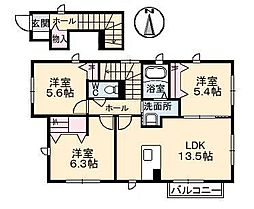 広島県福山市駅家町大字江良の賃貸アパートの間取り