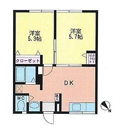 神奈川県横浜市戸塚区汲沢8丁目の賃貸アパートの間取り