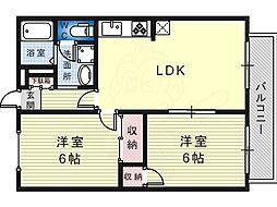 モアクレスト白鷺 2階2LDKの間取り