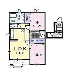 千葉県茂原市中部の賃貸アパートの間取り