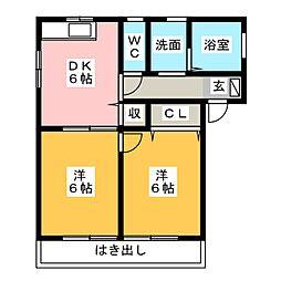 静岡県静岡市清水区横砂南町の賃貸アパートの間取り
