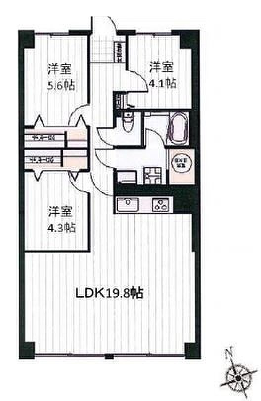 間取り(専有面積:76.8平米、バルコニー面積:8.4平米、3LDKバルコニー。 広々LDK19.8帖。 日当りの良い南向きリビングダイニング。 収納豊富な間取りでスッキリ暮らせます。)