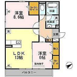 愛知県名古屋市千種区京命1丁目の賃貸アパートの間取り