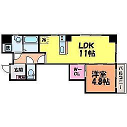 愛媛県松山市湊町3丁目の賃貸マンションの間取り