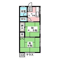 西川田ハイツ[1階]の間取り