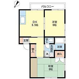 東京都大田区中央4丁目の賃貸アパートの間取り