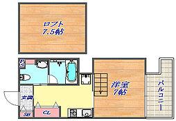 SANKO グランフーテージ 6階1Kの間取り