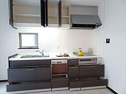 吊戸棚のあるシステムキッチンは食洗機も設置してあります。