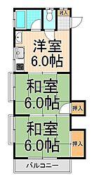倉沢第二コーポ[203号室]の間取り