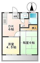 カマダハイツA・B[A101号室]の間取り