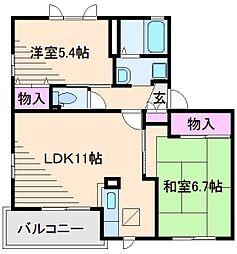ウエストハウスA[1階]の間取り
