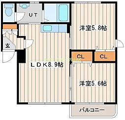 KAURI FLATVIII 3階2LDKの間取り