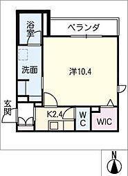 仮)シャーメゾン高蔵寺 2階1Kの間取り