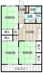 大里東マンション[303号室]の間取り
