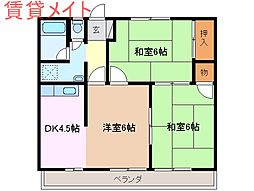 三重県鈴鹿市江島本町の賃貸マンションの間取り