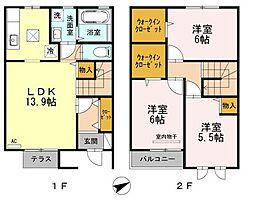 [テラスハウス] 広島県福山市曙町2丁目 の賃貸【/】の間取り